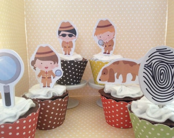 Detective, Scavenger Hunt Party Cupcake Topper Decorations - Set of 10