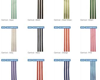 """7/8"""" Carnival Stipe - Grosgrain Ribbon - Made in USA"""