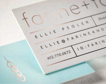 """150 Business Cards or Hang tags -  32PT white silk laminated matte stock - Metallic foil gold silver rose-gold +  3.5""""x2"""" - custom printed"""