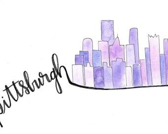 Pittsburgh Skyline Calligraphy Print