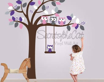 ursery Wall Decal - Wall Decals Nursery. Tree Decal. Wall Decal tree. Tree and owls decals. Tree and owl decal - baby tree decal
