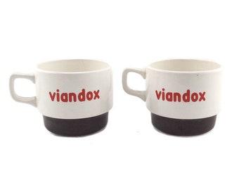 2 French Vintage Advertising Cups VIANDOX / Retro 70s Bar Cups / French Bistro Decor