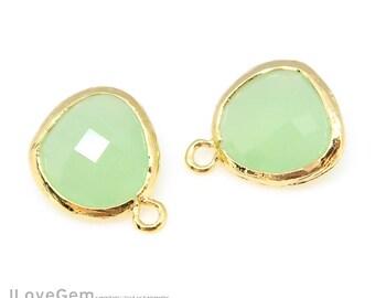 2pcs, P1750, Gold plated, Light Mint, Glass fancy rosecut 12.5mm, Glass pendant, Framed glass
