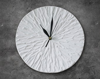 WHITE Clock Modern WALL CLOCK, White wall clock, black and white clock, white flower home decor, wedding gift, house warming gift