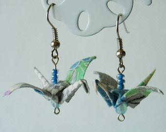 Handmade Origami Earrings with Cranes of Happiness Traditional Japanese Washi Paper Colorful Silver and Blue