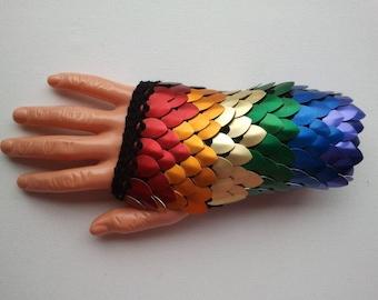 Rainbow fingerless dragon scale gloves (pair)