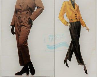 Vintage Yves Saint Laurent Vogue Paris original sewing pattern 1226 lined jacket and straight leg pants Size 8 to 12