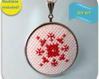 Snowflake Necklace - Cross Stitch DIY Kit
