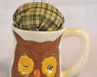 Owl Coffee Mug Pincushion
