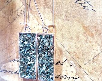 Faux Druzy Rectangle Earrings - Turquoise Druzy Earrings, Glitter Earrings, Sparkly Earrings, Gift