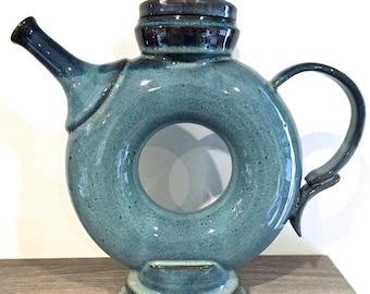 Infinity Blue Teapot, ring shape teapot, doughnut teapot, stoneware blue teapot, handmade teapot