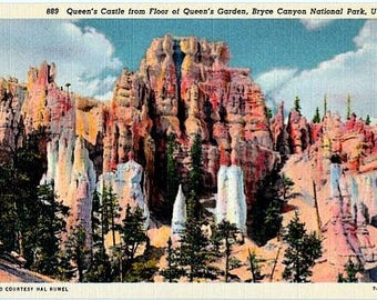 Vintage Utah Postcard - Queen's Castle, Bryce Canyon National Park (Unused)