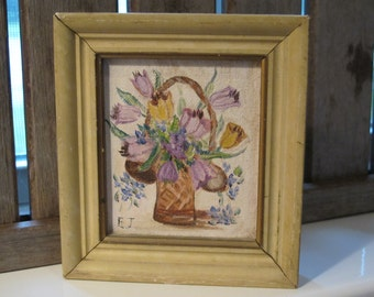Vintage oil painting, small basket of flowers, original- free shipping