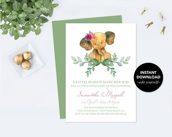 Elephant BABY SHOWER INVITATION, Baby Shower Invitation Girl, Girl Baby Shower, Couples Baby Shower, Invitation Template, Printable Invite