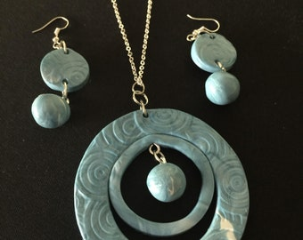 Light Teal Necklace and Earrings