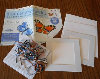 Counted Cross Stitch Kit - Two Butterfly Greeting cards