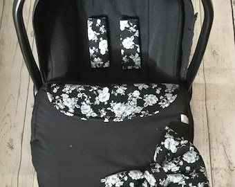 baby car seat apron harness strap covers attached bow black white floral black fleece universal fit new handmade flowers retro blanket
