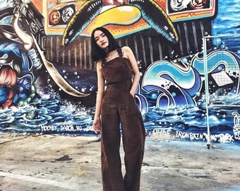 Women's Dark brown Corduroy Jumpsuit/overalls , Ultra Wide Legs  - Vintage 70s fashion Handmade