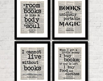 BOOK LOVERS multi-pack. Gift for readers, book lovers, and bibliophiles! Home LIbrary or Reading Nook -  Four Prints for One Low Price