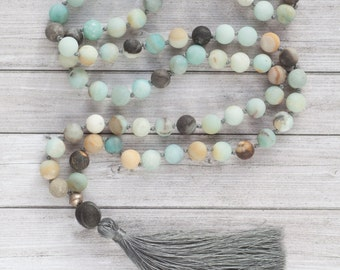 Long boho necklace / Long tassel necklace / long amazonite necklace / boho chic necklace / romantic gift for girlfriend / gift for wife