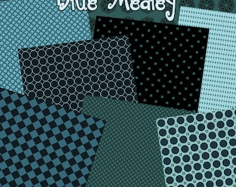 Blue Medly Backgrounds - Background Paper Images for Scrapbook and Paper Crafts