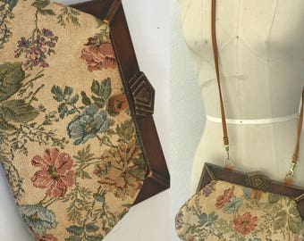 Vintage 70's Tapestry Wood & Leather Crossbody Clutch