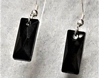 Black Earrings on Sterling Silver with Crystal Charm