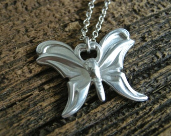butterfly necklace, sterling silver butterfly necklace, antique butterfly stamp design necklace
