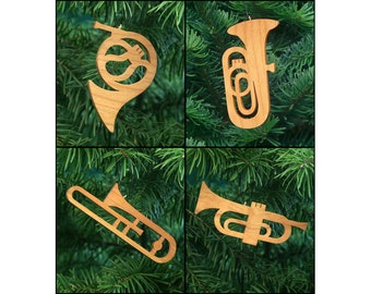 Brass Band Musical Instruments Christmas Ornament Set: French Horn, Tuba, Trombone, Trumpet