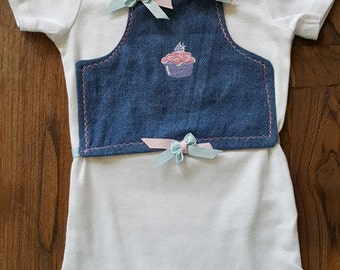 Blue Jean Vest Bodysuit with Embroidered Cupcake, Baby Onesie, Baby Girl Onesie, Cute Cupcake, Custom Baby Onesie, Personalized Baby Clothes