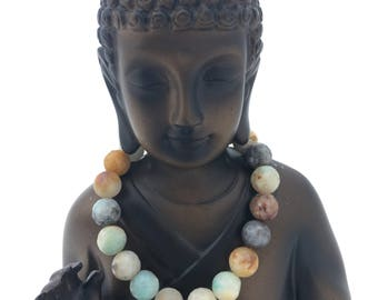Faceted Mixed Amazonite Bracelet with Hamsa Hand Charm