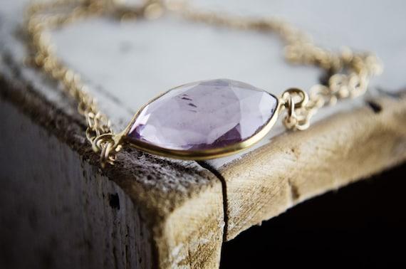 Pale Amethyst Quartz Bracelet in Gold | Marquis Cut Bezel Purple Gemstone Bracelet