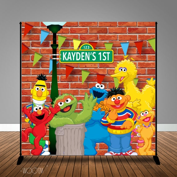 Sesame Street Themed Birthday Banner Backdrop Step Repeat