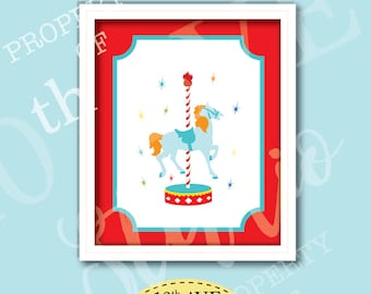 Carnival Circus Carousel Horse 8x10 Instant Download Print Your Own Wall Art