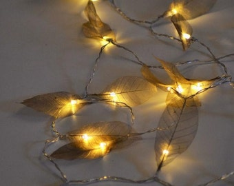 NEW! Copper leaf 2M 20 LED string fairy lights vintage rustic wedding table rose gold woodland Decoration girl Birthday present forest