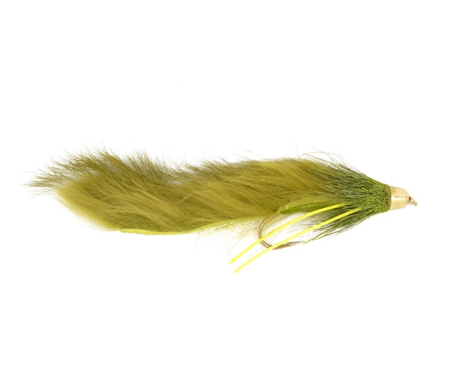 Cone Head Muddy Buddy Bunny Streamer - Olive - Trout and Bass Fly Fishing Muddler Flies - Hook Size 4 - Hand Tied Trout Flies