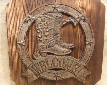 Rustic Cast Iron  Welcome Sign with star and cowboy boots   (1/2 price sale) lodge cabin decor -- reclaimed western cedar