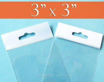 100,  3 x 3 Inch HANG TOP Clear Self Adhesive Cello Bags  for Jewelry Display, OPP
