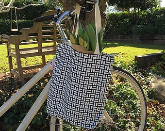 Retro Rectangles Canvas Tote Bag - Hand Screenprinted White on Charcoal 100% Cotton Canvas