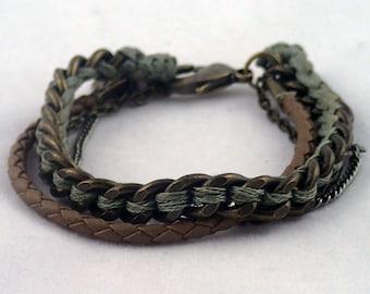 "Color Me Camo Multichain Bracelet - 6 1/2"" handwoven multi chain bracelet. handmade to order in NYC."