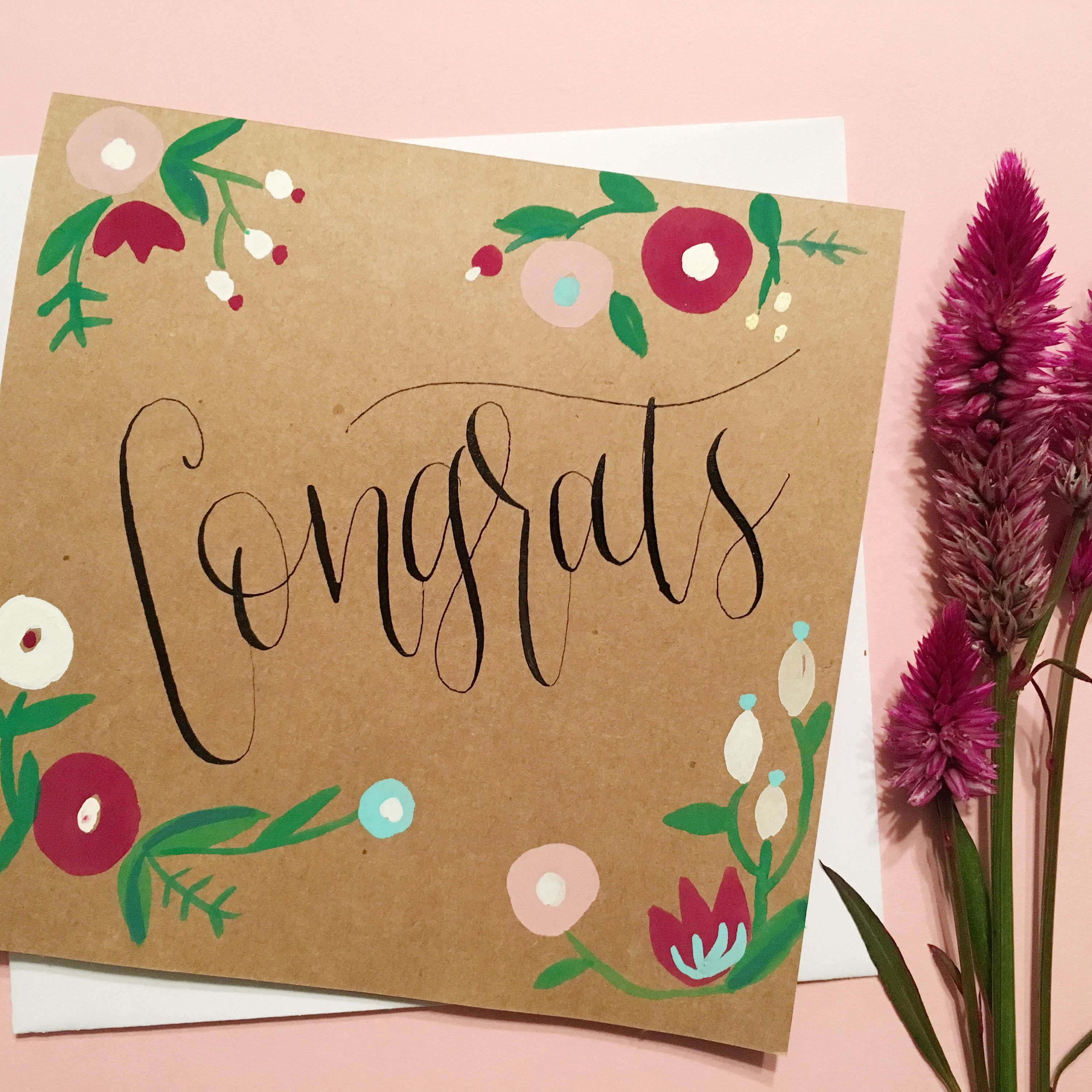 Congrats card handmade floral watercolor and calligraphy card congrats card handmade floral watercolor and calligraphy card baby shower card bridal shower card wedding card kristyandbryce Image collections