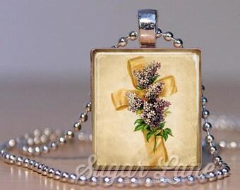 Vintage Easter Cross Necklace (HIRD4) - Vintage Easter Necklace - Vintage Easter Jewelry - Scrabble Necklace - Vintage Style Easter Pendant