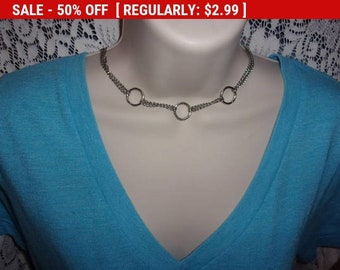 Vintage silver tone chain choker necklace, estate jewelry