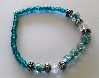Aqua with Crash Round Beaded Bracelet, Handmade
