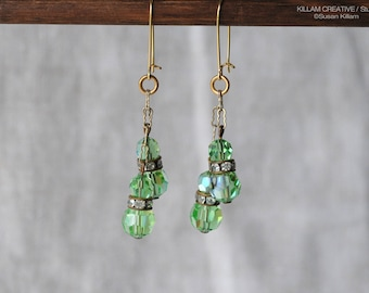 Vintage Bead Drop Earrings, Green Gold Earrings, Vintage Style, Vintage Green AB Faceted Glass, Lime Green