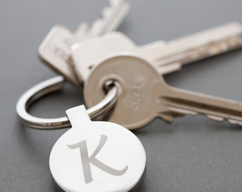 Personalised Initial Round Steel Keyring Keychain