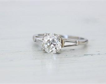 Antique 1930s Engagement Ring | Art Deco Platinum Engagement Ring | 1.41 European Cut Diamond Solitaire | Baguette Diamonds | Size 6.75