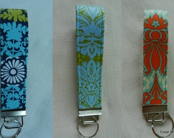 Damask Designs Key Fob, Key Chain,Orange,Turquoise,Lime,Blue,Black,Wristlet,Key Holder