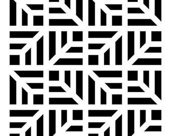 Stenciled geometric square 10 x 15 cm - stencil - Stencil-geometric - Chevron 036