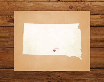 Customized Printable South Dakota State Map Art - DIGITAL FILE - Aged-Look Canvas Wall Art Print